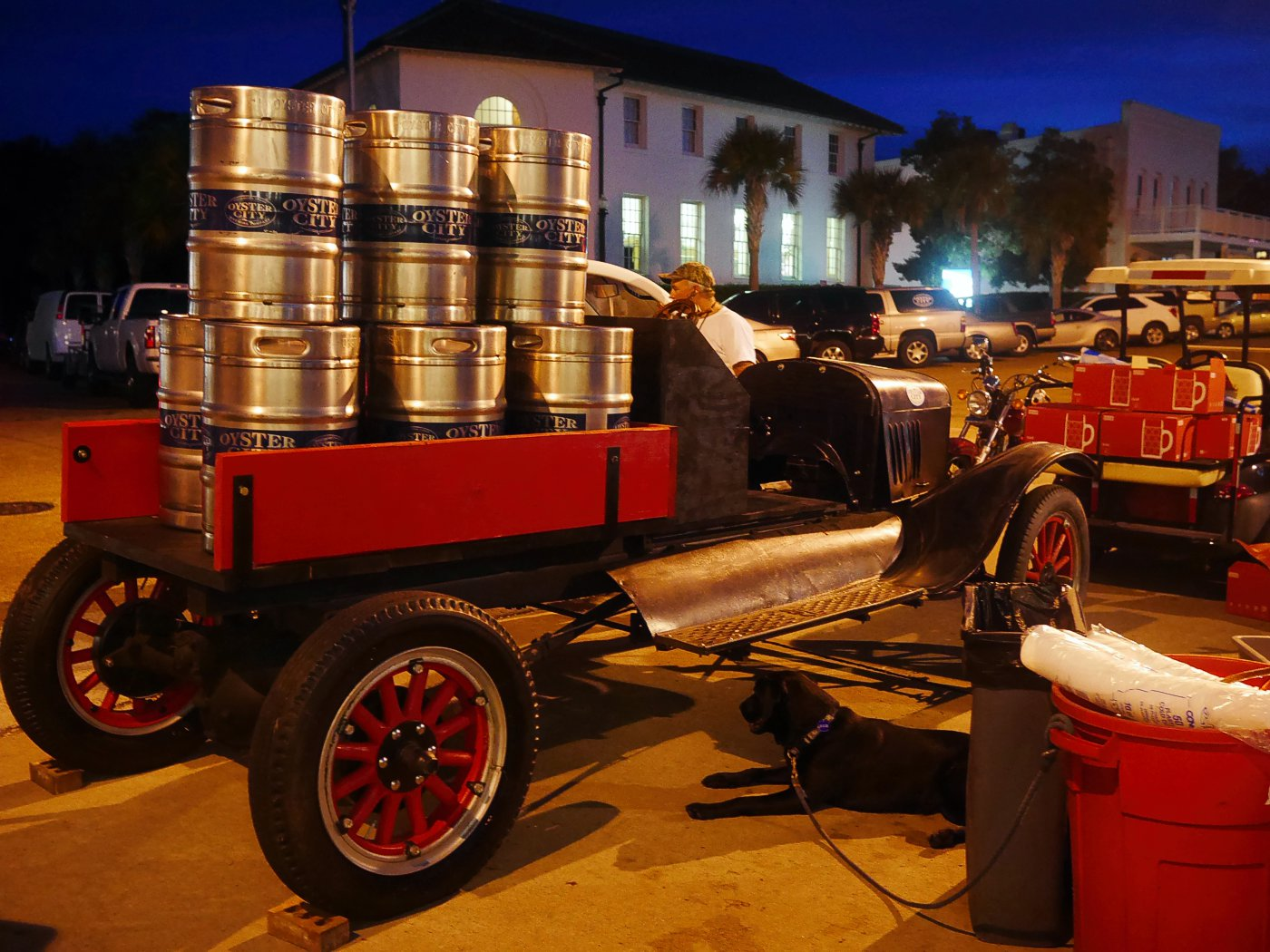 Oyster City Brewing Company, Apalachicola local Craft microbrewery serving up their brew during a town party